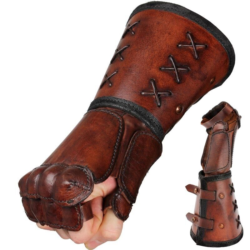 Quality Leather Gauntlet - Right Hand - Brown. Stage Costume & LARP