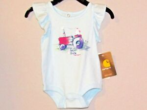 Carhartt-infant-girls-1-piece-short-sleeves-light-aqua-w-pink-amp-purple-tractor