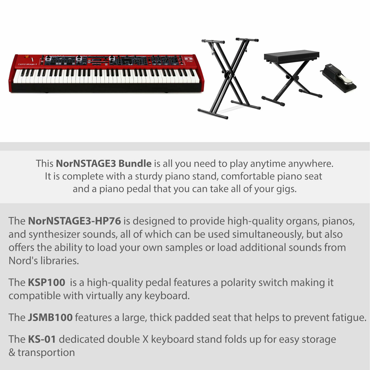 Rockville Double X Braced Keyboard Stand w Push Button Lock For Nord Piano 4