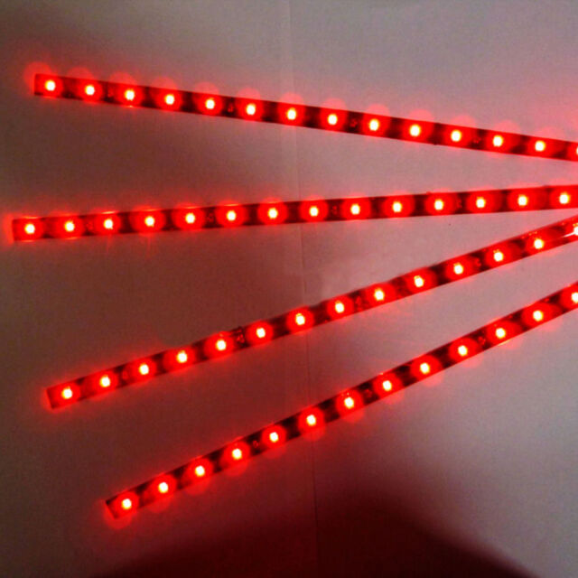 8x 30cm Red 15 SMD LED Car Auto Flexible Grill Light Lamp Strip Waterproof 12V