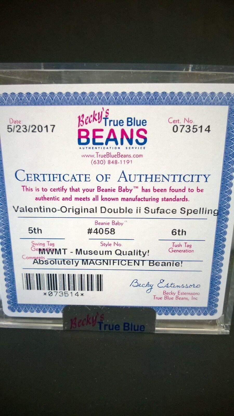 Beim ty beanie baby  valentino  tragen   4058 mwmt suface ii fehler