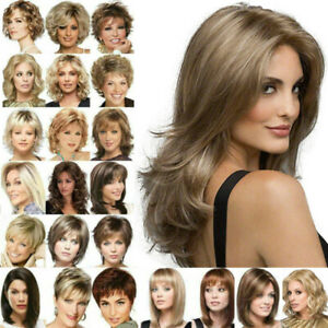 Women Bob Wavy Hair Wigs Short Long Natural Curly Straight Wig Party Style Ebay