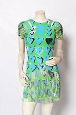VERSACE H&M Green Blue HEARTS Fringe Mini Party Dress Sz 2 *MINT*