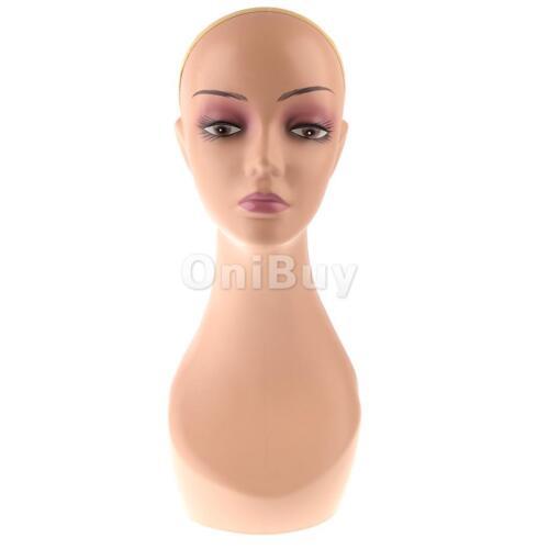 Buste Tête Mannequin Femme Plastique Tête de Modèle pour Affichage Perruques