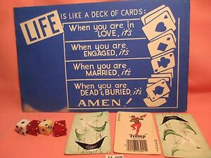 1950-039-s-4-Dice-amp-Sign-LIFE-IS-LIKE-A-DECK-OF-CARDS-amp-3-Vintage-Cards-034-WEIRD-034