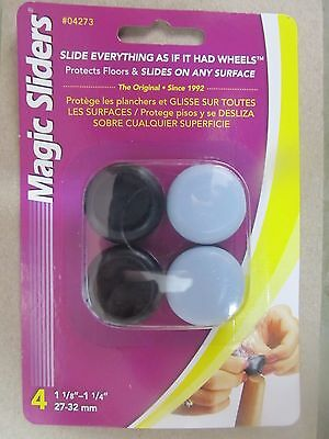 "4-Pack Magic Sliders 04273 Round Self-Gripping Tip Slider 1-1//8/""-1-1//4/"""
