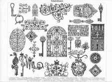 SCHMIEDEKUNST Schlüssel Beschläge HOLZSTICH von 1897 Schmiedeeisen Schmied