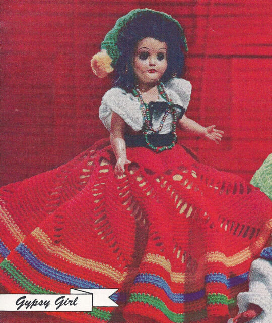 Vintage Crochet Pattern 8 Inch Doll Clothes Dress Skirt Blouse Hat