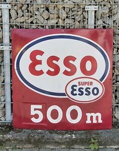 Extrem-Rar-Grosses-98x98cm-ESSO-Super-Emailschild-50er-Jahre-VINTAGE-ESSO-500m