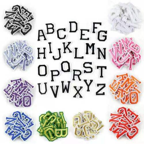 26 Alphabet English Patches Set Letters Embroidered Iron On Sewing Parches
