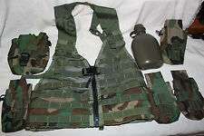 US Military Issue  Molle Assault Load Bearing Vest LBV  LOT with Pouches Canteen