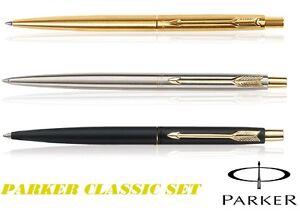 Parker Classic Ball Pen Set of 3 Silver Gold matte Black GT Brand new Gift Box