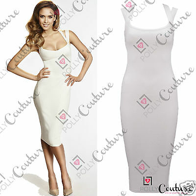 Womens Bodycon Pencil Ladies Long Fitted Formal Cocktail White Party Midi Dress