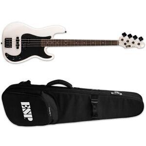 ESP LTD Surveyor '87 Pearl White Electric Bass Guitar + ESP Gig Bag 1987 87