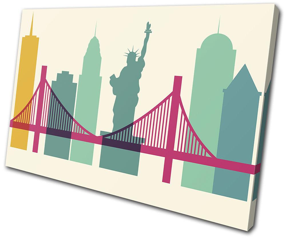 New york Colourful Simple City SINGLE Leinwand Wand Kunst Bild drucken