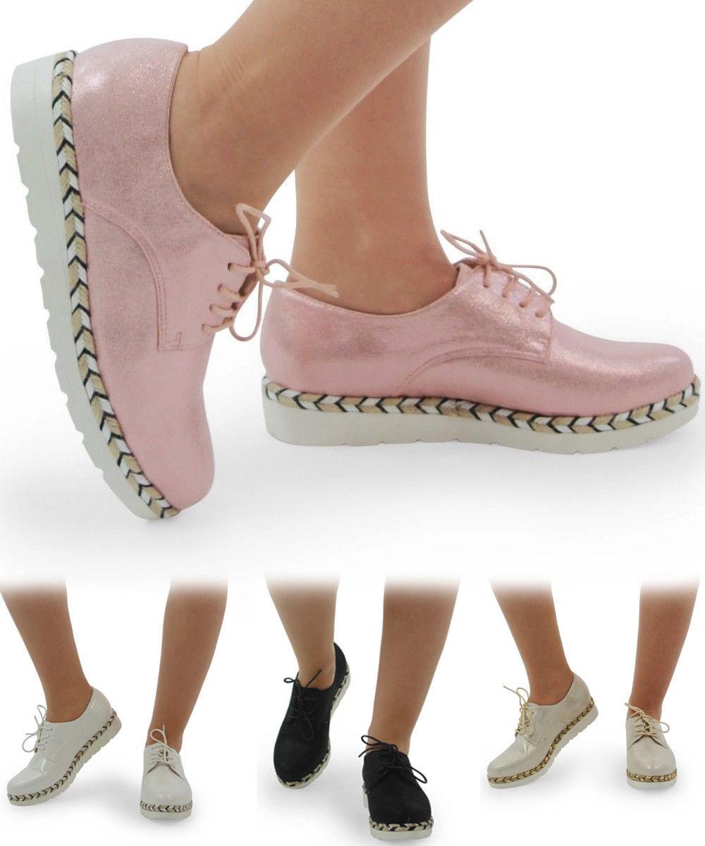Mesdames Femmes Brillant Designer Style à Lacets Baskets Baskets Lacets Chaussures