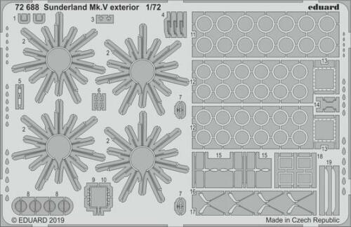 Eduard PE 72688 1//72 Short Sunderland Mk.V exterior details Special Hobby