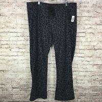 Old Navy Womens Gray Black Animal Print Fleece Drawstring Lounge Pants Xl