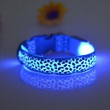 LED Light Flashing Luminous Leopard Adjustable Safety Night Pet Dog Collar Blue