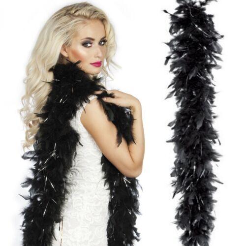 Federboa Glamour Boa Federschlange schwarz mit Gold oder Silber Fäden Kostüm