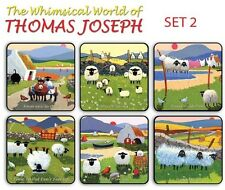 Thomas Joseph Set of 6 Coasters  Drink Mats Set 2 Fun Cute Sheep Designs