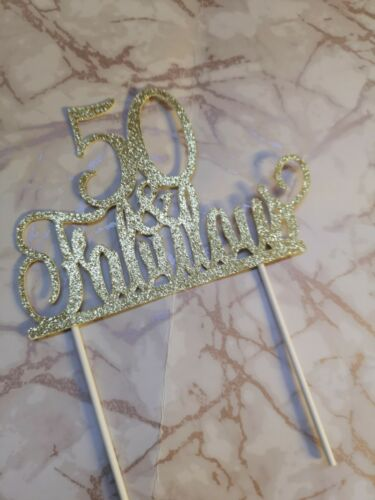 HAPPY BIRTHDAY  30th 40th 50th 60th 70th /& FABULOUS GOLD GLITTER CAKE TOPPER NEW