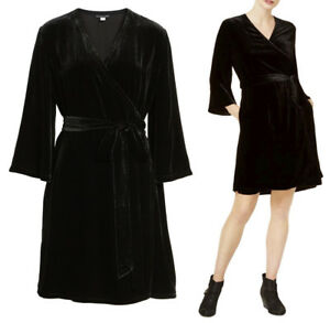 67f0d48394f1 $378 Eileen Fisher Black Velvet Bell Sleeve Wrap Dress M or XL | eBay