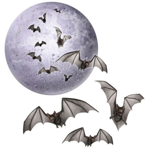 HALLOWEEN Party Decoration Prop Spooky Vampire BAT FULL MOON HANGING MOBILE