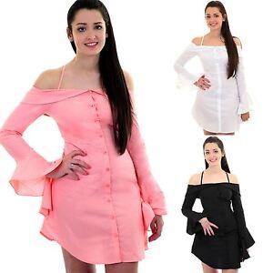 8c424cf6227c9 Ladies Bardot Off Shoulder Ruffle Bell Sleeve Button Up Long Shirt ...