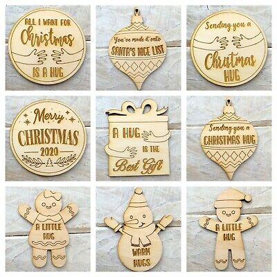 5 Pack Wooden Laser Cut Send a Little Hug Christmas Hug Token Tree Decoration A Hug is the Best Gift