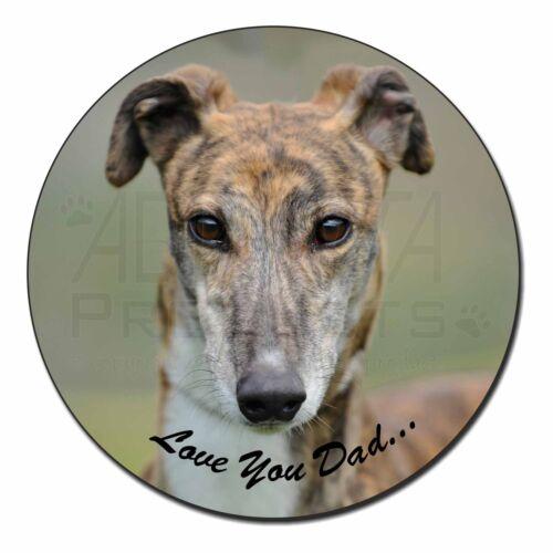 Brindle Greyhound /'Love You Dad/' Fridge Magnet Stocking Filler Christ DAD-173FM