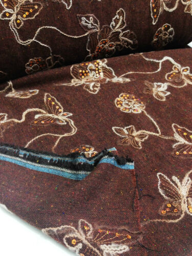 "*NEW*Brown//Multicolour Sequinned Embroidery Designer Wool Fabric 60/""-150cm"