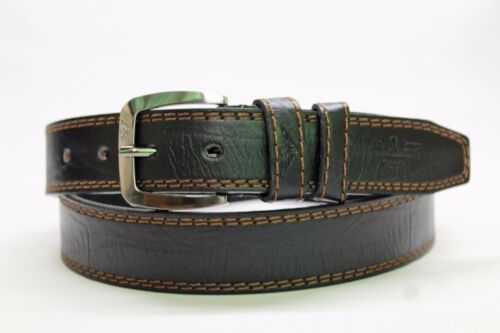 New Mens Black with Brown Stitches Jeans Solid Stylish Design Leather Belt