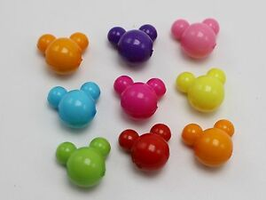 150-Mixed-Bubblegum-Color-Acrylic-Mouse-Face-Charm-Beads-12mm-Kids-Craft