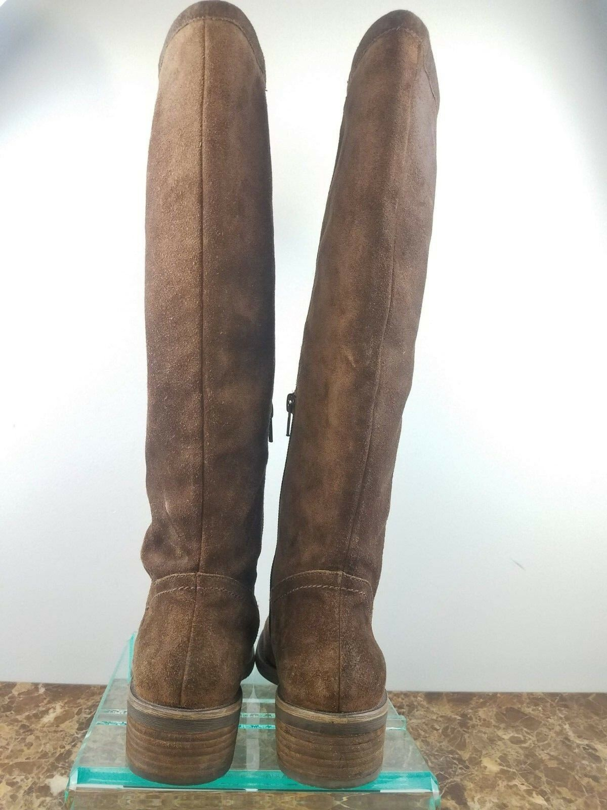 Franco Sarto Brown Suede Leather Knee High Side Side Side Zip Up Riding Boots Womens 5.5M 5a5b9d