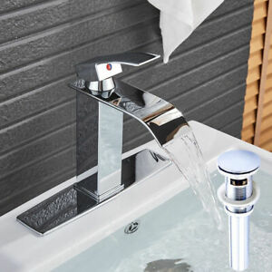 Waterfall-Bathroom-Vanity-Sink-Faucet-Rectangular-Spout-Chrome-Base-Cover-Drain