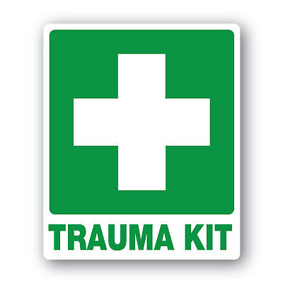 First aid stickers 120mm-x-100mm twin pack water and fade proof quality vinyl