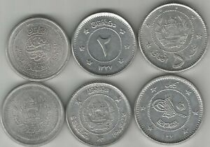 AFGHANISTAN SET 3 COINS 1 2 5 AFGHANIS UNC LOT 5 SETS = 15 COINS