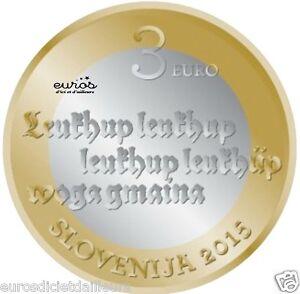Piece-commemorative-3-euros-SLOVENIE-2015-Anniversaire-du-1er-texte-imprime