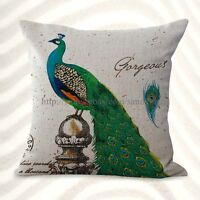 Us Seller- Peacock Retro Cushion Cover Pillow Covers For Throw Pillows