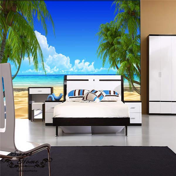 3D Tropical Beach Wallpaper Trees Full Wall Mural Photo  Printed Home Decor Kids