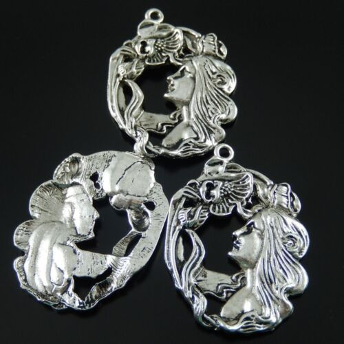 5pcs Antique Style Silver Tone Alloy Beauty Girl Pendants Charms Jewelry 37743
