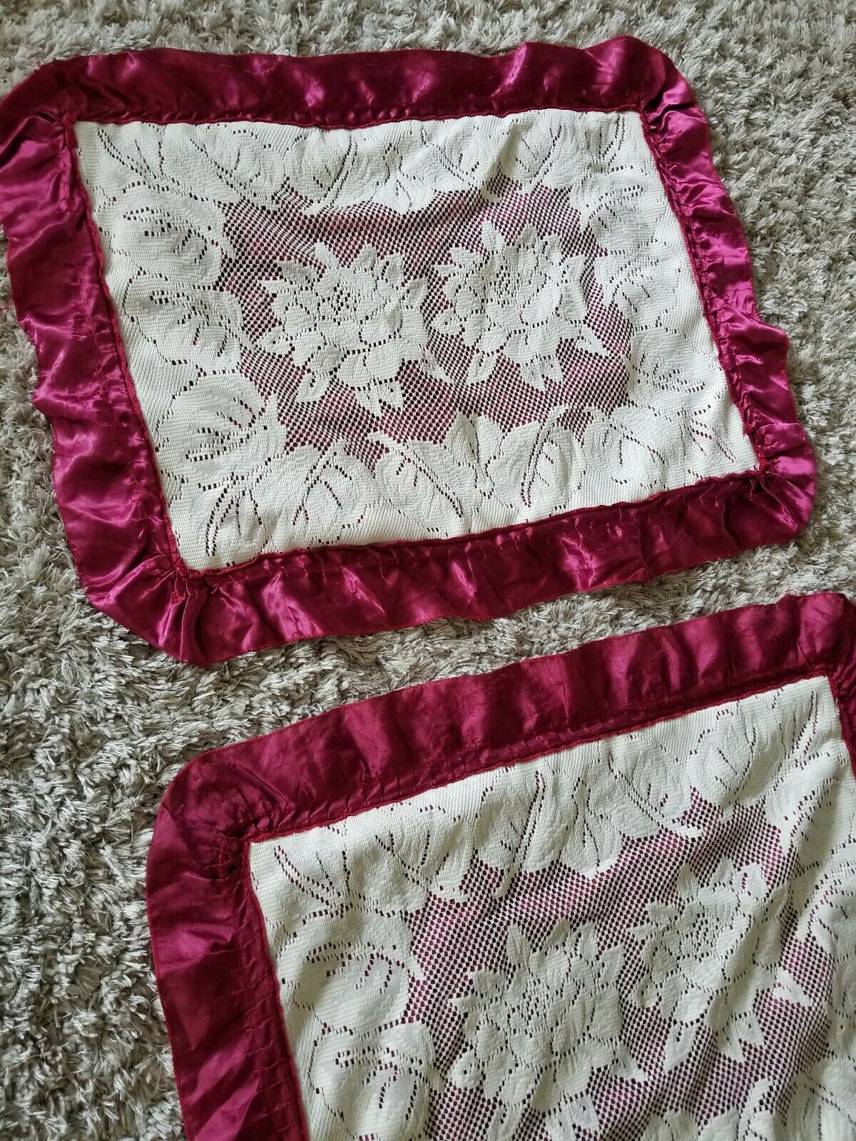 Beautiful VTG Handmade Ruffled & Lace Maroon Cream Floral Pillow Sham Standard