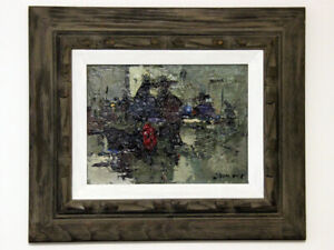 Oil-Painting-on-Board-Framed-Signed-034-Cowboys-in-Bar-034-Gorgeous-Oil-Painting