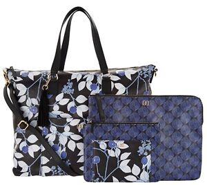 DENA-Weekender-Handbag-with-Pouch-and-Laptop-Case-NEW-Blue-Cherry-NWT