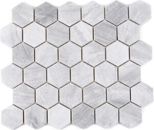 Mosaik-Fliese-Keramik-Hexagon-Travertin-Optik-grau-Fliesenspiegel-Kueche-11G-0202