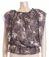 BNWT Ladies Black & Brown Leaf Print Sheer Blouse Top Size 14