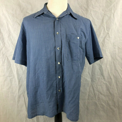 Gloweave L Mens blue check short sleeve dress shirt Made in Australia