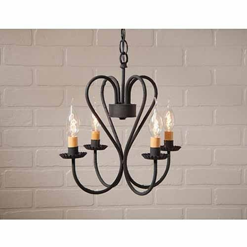 Small Georgetown Dining Room Country Farmhouse 4-arm Chandelier in Black