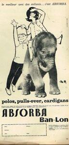 N-Publicite-Advertising-1963-Les-Vetements-pour-enfants-absorba-elephant